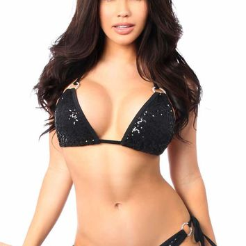 Daisy Corsets Female Black Sequin & Rhinestones Pucker Back Bikini DBW-239