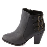 Bamboo Triple-Belted Chunky Heel Booties by Charlotte Russe