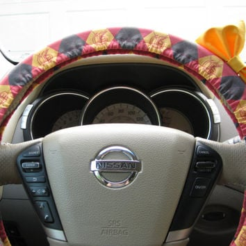 Steering Wheel Cover Bow - The Original Steering Wheel Cover Harry Potter Gryffindor Argyle with Yellow Bow
