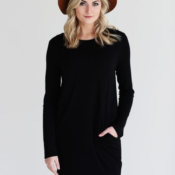 Black DLMN Long Sleeve Pocket Dress