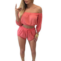 Hawaii Beach Summer Lace Playsuit Women Sexy Slash Neck Oversize Sexy Jumpsuit Bodycon Plus Size Romper