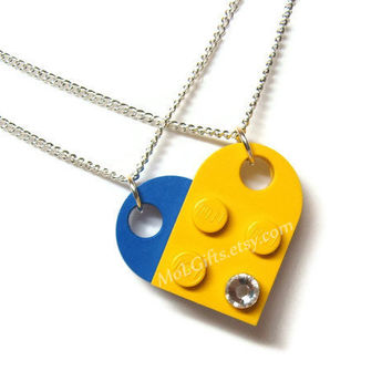Heart Necklace Set - 2 Chains Sharing 1 Heart made from Genuine LEGO (r) Heart Pieces