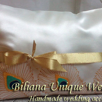 Set of 2 hand painted Satin Kneeling Pillow peacock feathers in gold, blue and turquoise personalized quinceanera , ceremony  prayer pillow
