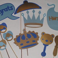 LITTLE KING photo booth props gold and blue