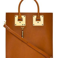 Sophie Hulme Cognac Tan Saddle Leather And Gold Tote Bag