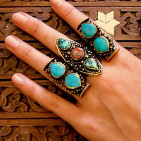 Bliss 2 stone saddle ring in turquoise