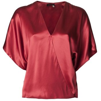 Lanvin Draped Crossover Slit Blouse