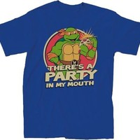 Teenage Mutant Ninja Turtles There's A Party Adult Royal Blue T-Shirt - Teenage Mutant Ninja Turtles - | TV Store Online