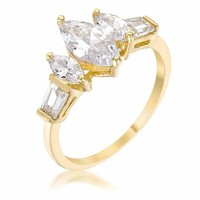 Marquise Triplet Engagement Ring JGI