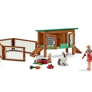 Schleich® 42339 Rabbit Hutch with Rabbits & Feed Toy Figure for Ages 3-Plus