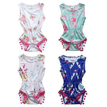 Summer Newborn Baby Girls Clothes Cloes Flower Bodysuit Sleeveless Cotton Cute New Jumpsuit Outfits Clothing Baby Girl