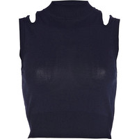 River Island Womens Navy cut out shoulder knitted crop top