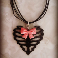 Skeleton Ribcage Heart with Cute Pink Bow Haunted Neck Candy
