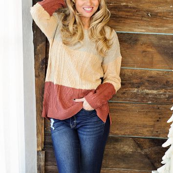 * Thanksgiving Colorblock Sweater: Oatmeal