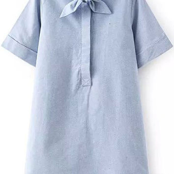 Blue Bow Collar Short Sleeve Dress