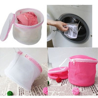 Aid Laundry Mesh Wash Basket Net Storage Zipper Bag (Color: Pink) [8045578631]