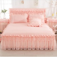 Cool Kids adults Lace cotton princess bed skirt twin full queen king size bedsheet bed cover bed linen pillowcases couverture de litAT_93_12