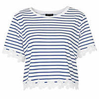Striped Daisy Organza Tee - Navy Blue