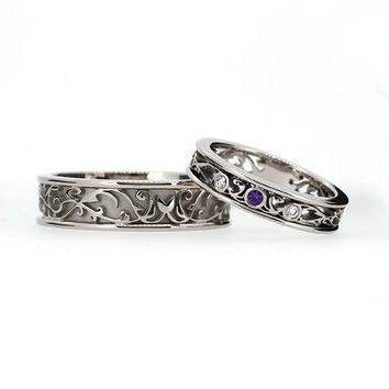 filigree Wedding band set, white gold, amethyst wedding band, purple wedding ring, filigree, amethyst  wedding, ring set, men modern ring