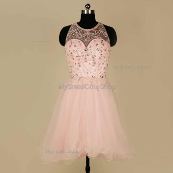 Pink prom dress,beaded and Crystal rhinestone bridesmaid dress,formal dress,short party dress,evening dress,tulle homecoming dress 2016