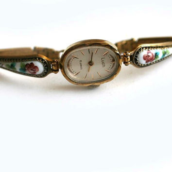 "Vintage Ladies Wrist Watch ""LUCH"" - Gold Tone and Enamel - from Belarus / Soviet Union / USSR"