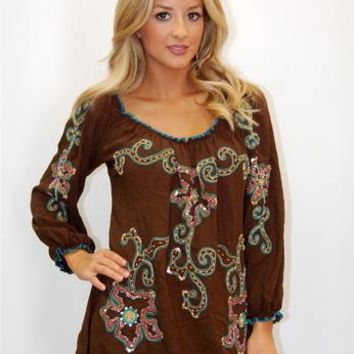 Urban Mangoz Chocolate Peasant Shirt with Embroidery