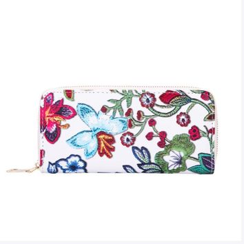 Wallet Women Leather Floral Printing Casual Billfold Purse Card Holder Flower Chinese Style Clutch Wallets Carteras Mujer #7118