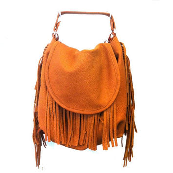 Leather purse, brown leather bag, Fringe bag, for her, stylish