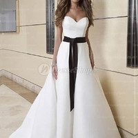 A-line Sweetheart Sweep Train Satin White Wedding Dress With Sash at Dresseshop