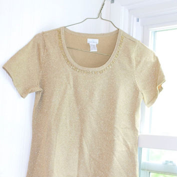 Gold Jaclyn Smith Sweater, Vintage Sweater, Sweatr Blouse, Ladies Small, Size Small, Gold Sweater, Office Wear, Beaded Top, Small Top, Shin
