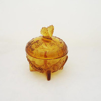 Sowerby Large Amber Glass Trinket Box, Sowerby Amber Glass Powder jar, Art Deco Amber Glass Trinket Box