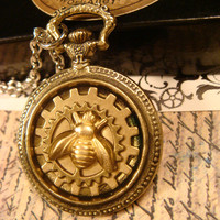 Steampunk Bee with Gears Pocket Watch Style Pendant Necklace (1785)