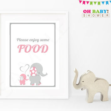 Please enjoy some food Baby Shower Sign Pink Gray Elephant Printable Girl Download Baby Decor Baby Shower Table Sign EL0005-lp