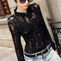 See Through Black Floral Lace Crochet Long Sleeve Blouse