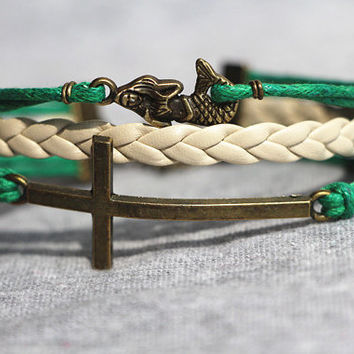 Cross bracelet /Little Mermaid Bracelet / Leather Bracelet / Green Rope Bracelet / Best Bridesmaid Gift, Friendship Gift