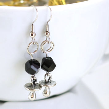New Baby Earrings - Black Twisted Crystal Bead with a Pacifier Baby Charm Fashion Earrings - womens jewelry - pacifier earrings