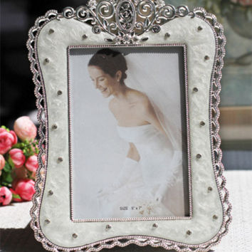 New Fashion Crystal White Wedding Home Decor Photo Frame Alloy Metal 4'' *6'' X1846