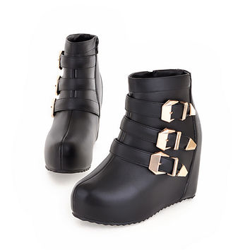 Punk womens gothic buckle straps Wedge High Heel platform Creeper round toe Ankle Boots shoes