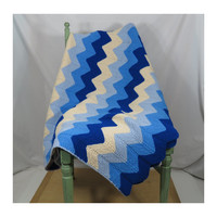 "Crochet Zigzag Chevron Afghan in Blues & Cream . Vintage Throw Blanket 60"" x 44"""