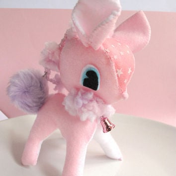 Kawaii FairyKei Lolita Style Cute Pink Starry Bambi Deer Plush Large Ornament Door Hanger Valentines gift