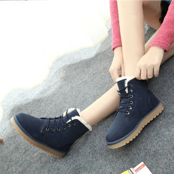 Women's Winter Snow Boots Korean Lady Warm Cotton Shoes Female Thickened Short Snakers = 1946456388