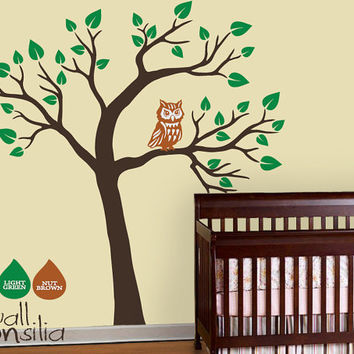 Nursery Owl Tree Wall Decal Wall Sticker Tree by WallConsilia