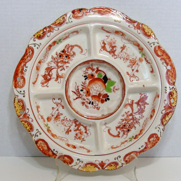 Vintage Takito Relish Tray Hand Painted Japan Orange Flowers