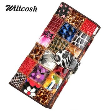 Wilicosh New Genuine leather wallets women Cowhide women's purse wallet Patchwork leather Clutch long women wallets purses WL415