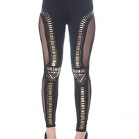Studded Leggings with Mesh Sides - Black from Evening & Club at Lucky 21 Lucky 21