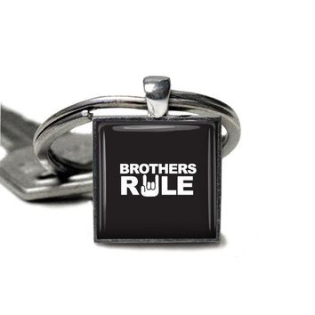 BROTHER Keychain - Brothers Rule - Gifts for Him - Teenage Boy Gift