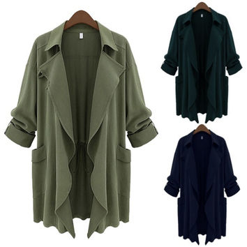 US Fashion Fate Women's Large Long Sleeve Cardigan Jacket Slim Trench Coat = 1930047812