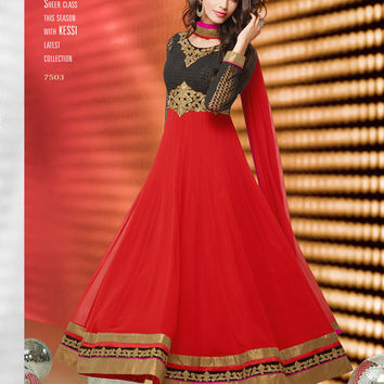 Red and Black full length anarkali suit