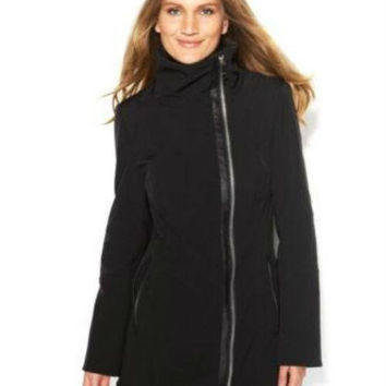 Calvin Klein Coat, Funnel-Neck Faux-Leather-Trim
