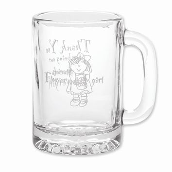 Glass Flower Girl Mug - Etching Personalized Perfect Wedding Gift